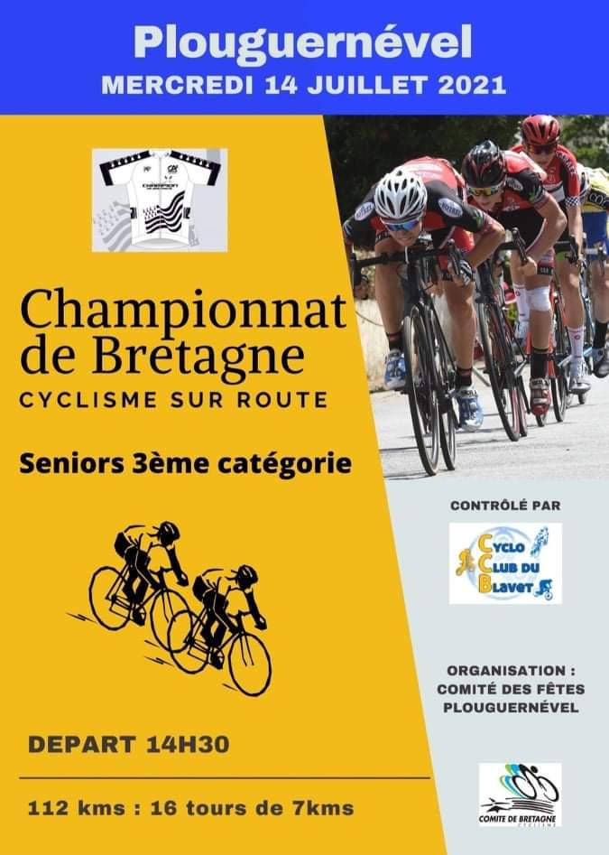 Championnat de Bretagne 3ème catégorie à Plouguernével le 14 juillet
